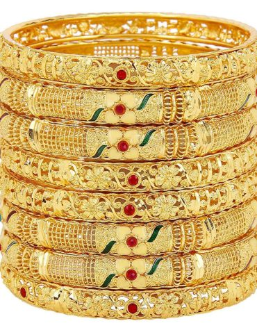 Traditional Fancy Designer Casual Party Hand Work One Gram Gold Multi Color Bangles