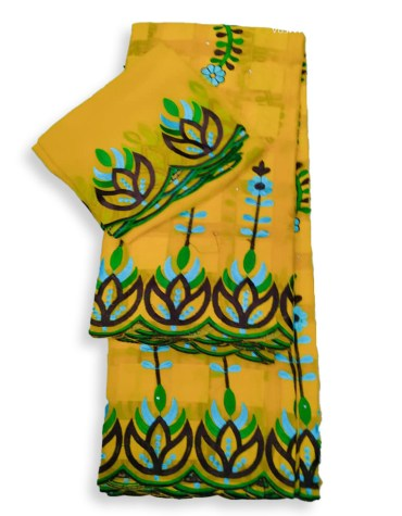 Elegant African Swiss Voile Cotton Leafed Pattern Piece With Embroidery Dress Material For wedding Occasion