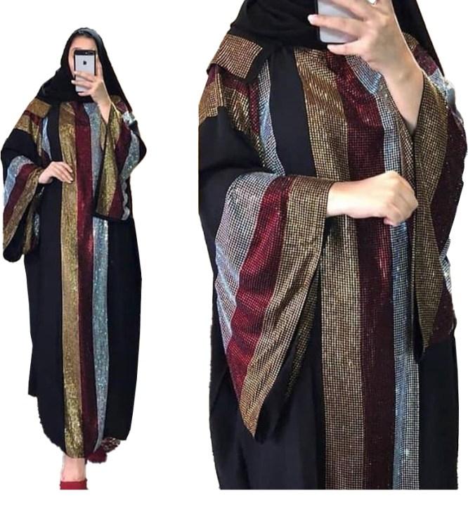 Rhinestone Beaded Premium Quality African Trendy Party Wear Abaya for Women