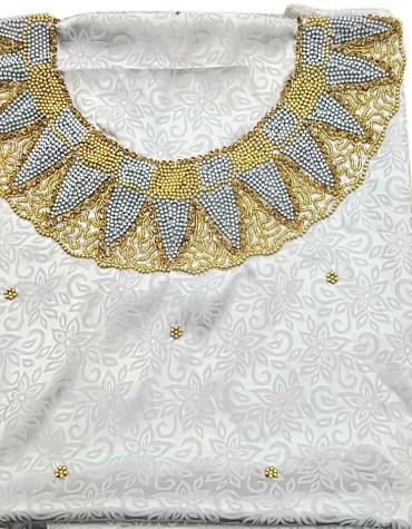 African Latest Satin Silk Dress Golden Material Wedding Evening For Women