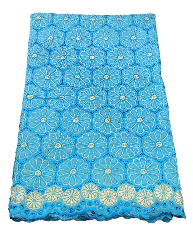 African Dry Lace Cotton Embroidery Design Dress Material Party Wear For Women