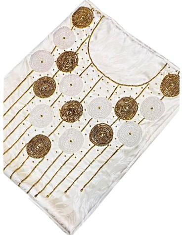 African Trendy New Satin Silk Dress Golden Material Wedding Evening For Women