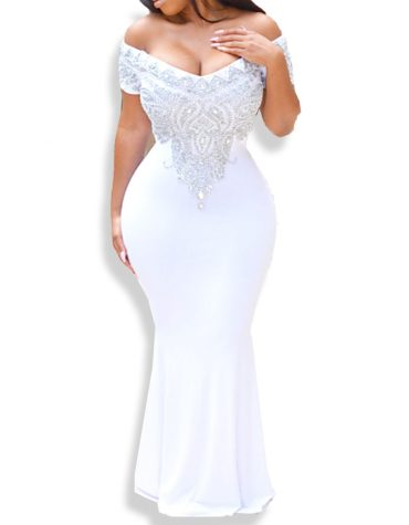 African Dress Silver Morrocon Beaded Mermaid White Off Shoulder Spandex Kaftan