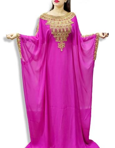 Dubai Farasha Moroccan Beaded Kaftan Women Muslim Wedding Designer Dresses