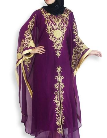 New Elegant African Long Sleeve Chiffon Kaftan Moroccan Beaded Dresses For Women