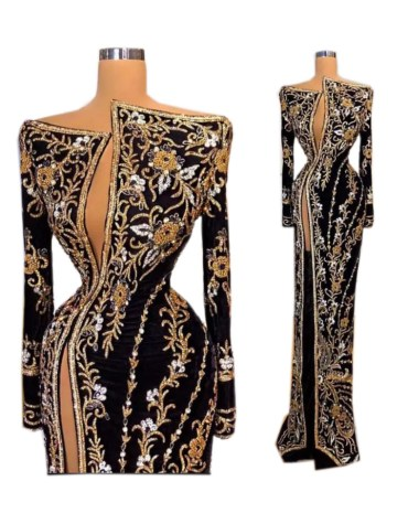 New Trendy Side Slit Moroccan Beaded Royal Wedding Velvet Kaftan Dress For Women