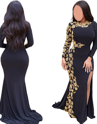Gold Beaded Wedding Evening Prom Party Wear Side Slit Moroccan Black Lycra kaftan