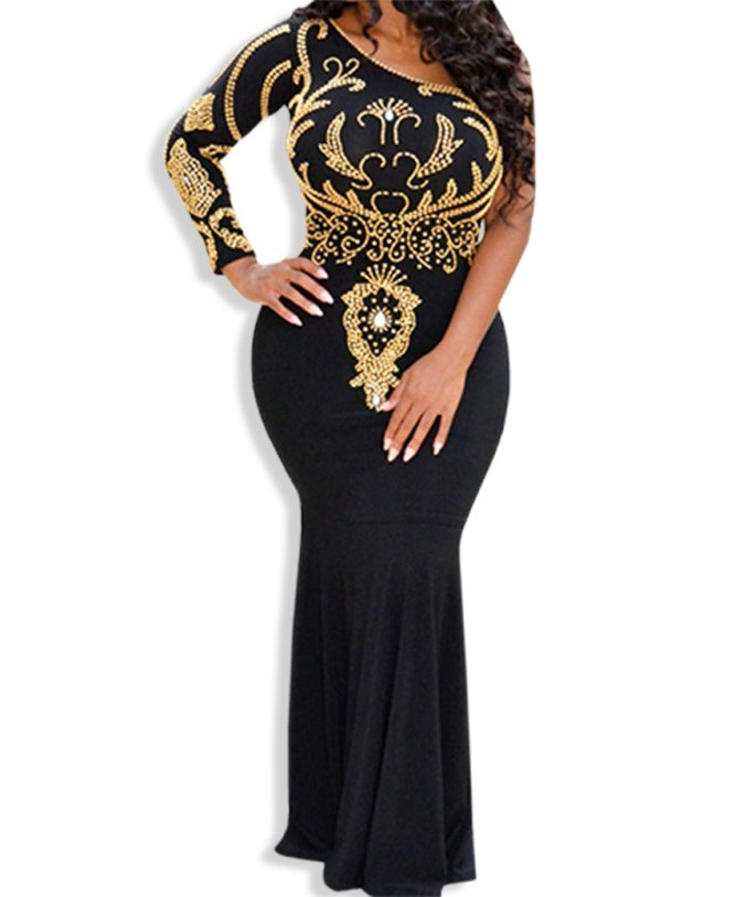 Adorable One Shoulder Full Sleeve Beaded Beautiful Prom Dress For Women