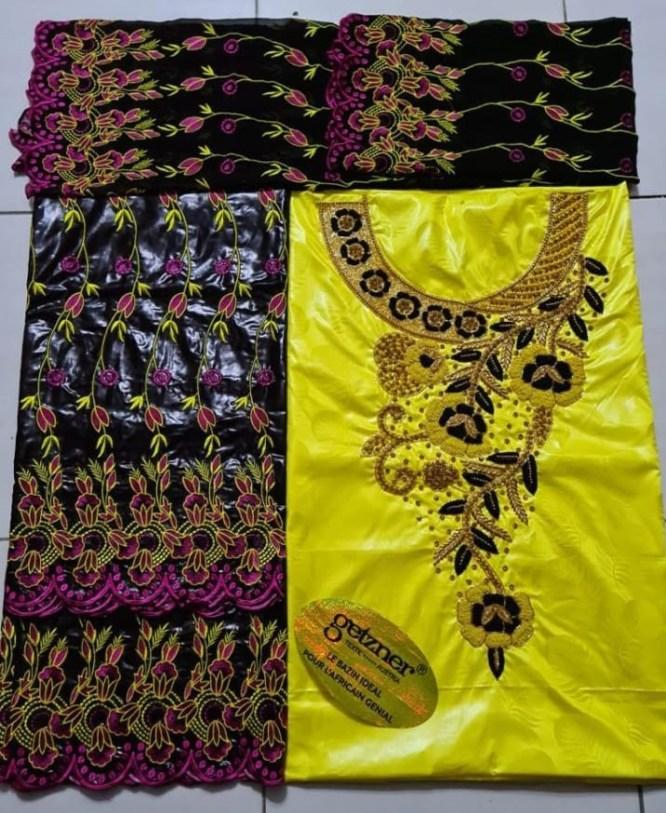 Premium100% Super Magnum Gold Getzner Riche Bazin Beaded Dress Material