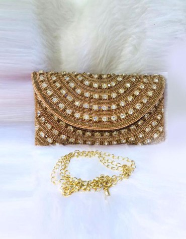 Handmade Silver Crystal Beaded Evening Copper Golden handbags for women