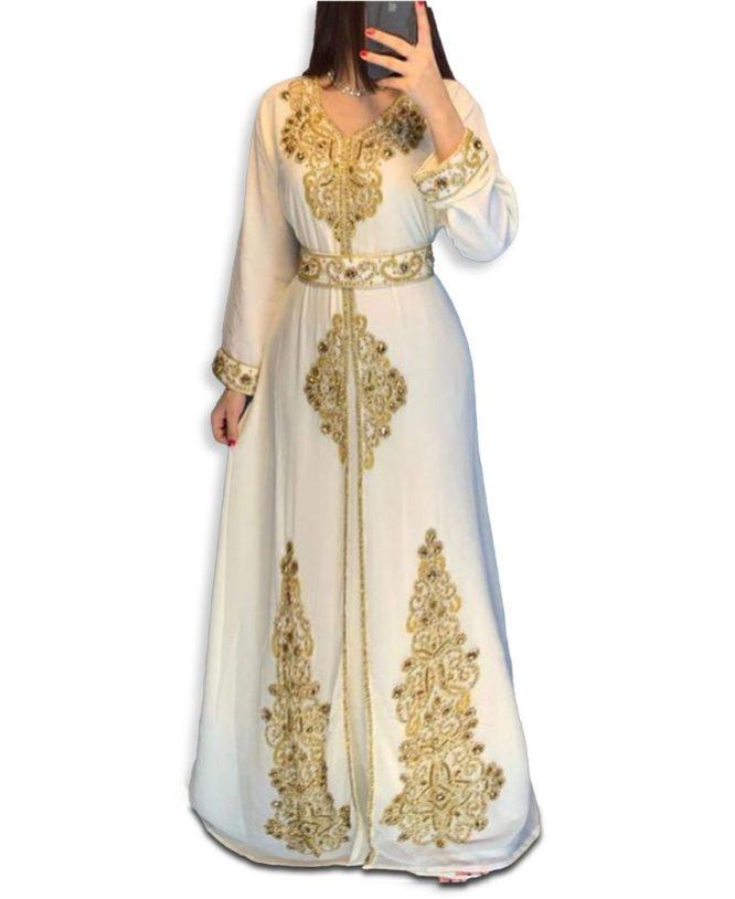 New Gold Beaded Moroccan African Dress for women Evening Party Wear kaftan