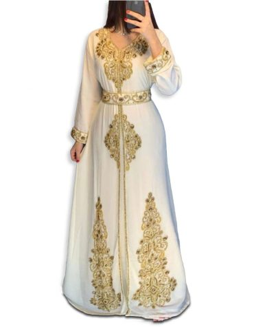 New Gold Beaded Moroccan African Dress for women Evening Party Wear kaftan