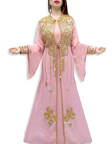 Jacket Style Golden Moroccan Beaded With Inner Dress Muslim Wedding Dress For Women