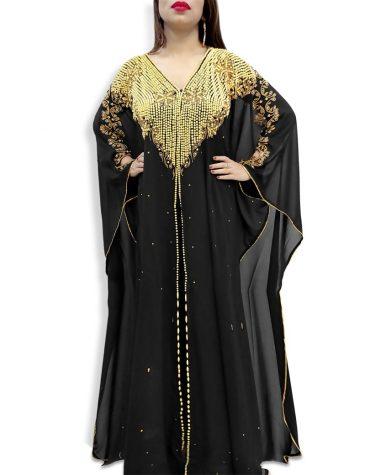 African Latest Design Golden Beaded Long Sleeves Fashionable Chiffon Kaftan for Women