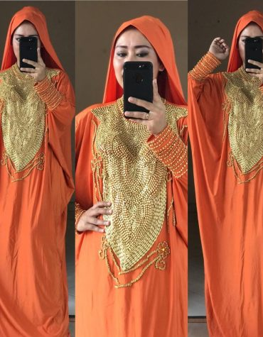 African Orange Maxi Dresses for Women Beaded Embellished Lycra Kaftan With Headscarf