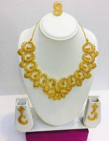 Super Classic Floral Designer 2 Gram Gold Plated Necklace Set For Party For Women