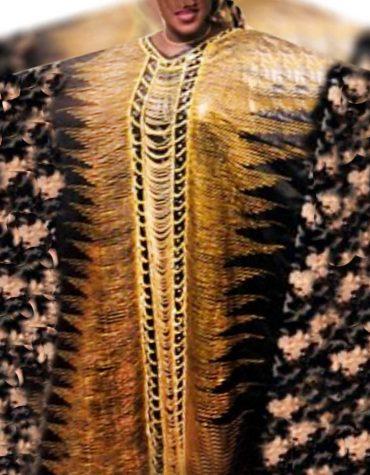 Elegant Floral Designer 100% Getzner Super Magnum Gold Rich Bazin Dress Material