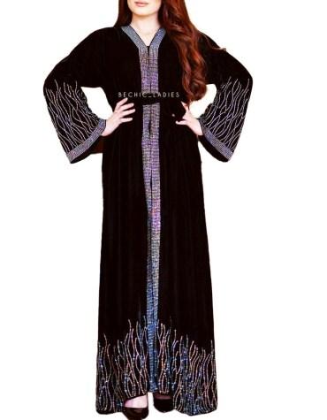 Fancy and Premium Quality Rhinestone Beaded Sleeves African Designer Abaya