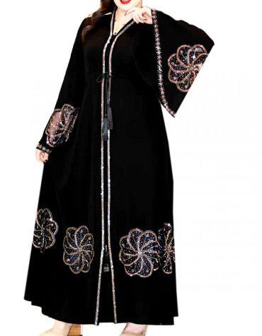 Designer Rhinestone Beaded Flower Pattern Stylist Umbrella Sleeves Dubai Abaya