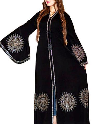 Eid Collection Silver Crystal & Rhinestone Beaded Dubai Kaftan Abaya for Women