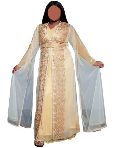 Latest Golden Embroidered Front Slit Kaftan with Slit Long Sleeves Chiffon Dress