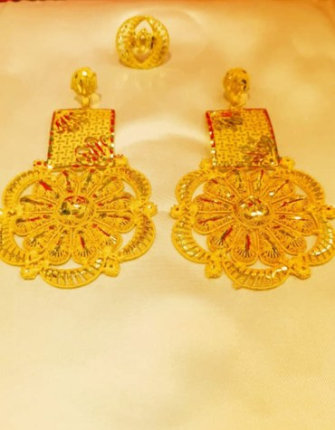 Round Floral Designer Pattern Premium Gold Platted Earrings Women Jewellery