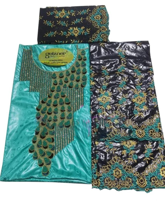 100% Super Magnum Gold Getzner Riche Bazin Dress Material with Premium Beaded Embroidery Design