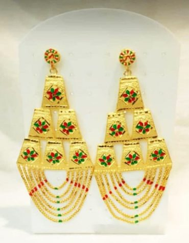 Premium Intricate Coloured Emeralds Trendy Gold Platted Earrings Women Jewellery