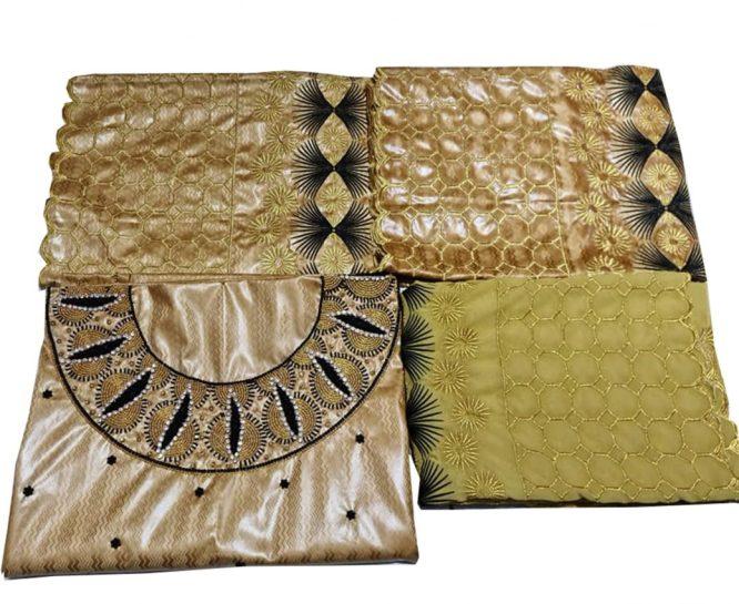 African 100% Super Magnum Gold Getzner Riche Bazin Dress Material For Women