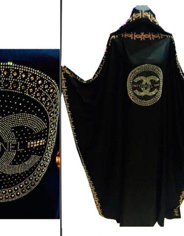 Premium Golden Round Chanel Rhinestone Work Beaded Chiffon Farasa for Women