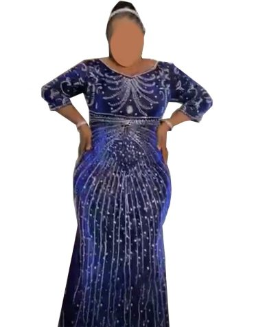 Premium Designer Classic African Attire Rhinestone Beaded Velvet Dubai Kaftan Abaya