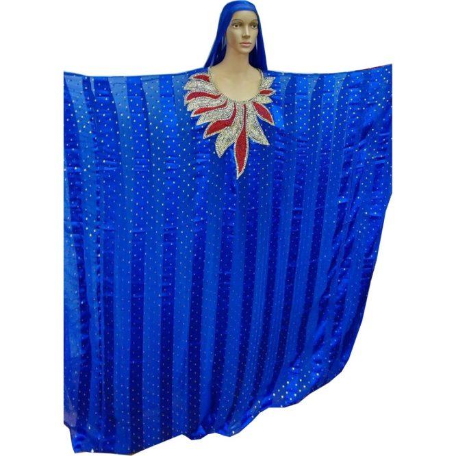 Premium Rhinestone Embroided Beaded Work On Satin Silk Dress Material For Women