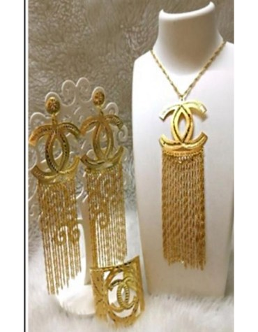 Trendy 2021 African Party Gold Platted Necklace & Earrings Jewelry Set For Women