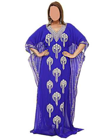 African Designer Dubai Kaftan Elegant Jalabiya Maxi Gown Beaded Work Party Dress