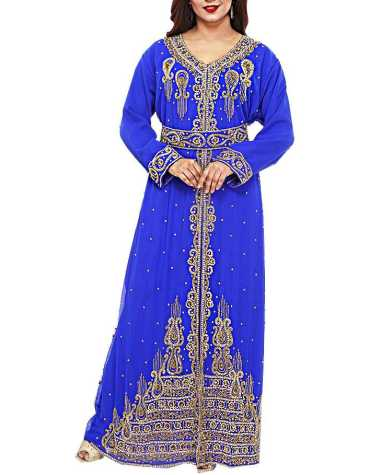 African Latest Dubai Kaftan Elegant Party Wear Gown Beaded Work Dress For Women
