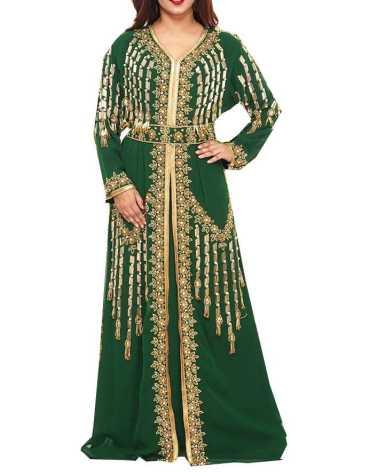 African Attire Latest Gowns In Golden Stone Work Dress Dubai Kaftan For Women