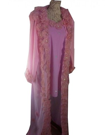New Shiny Light Weight Gown African Dress with Satin Flower On Chiffon Shrug