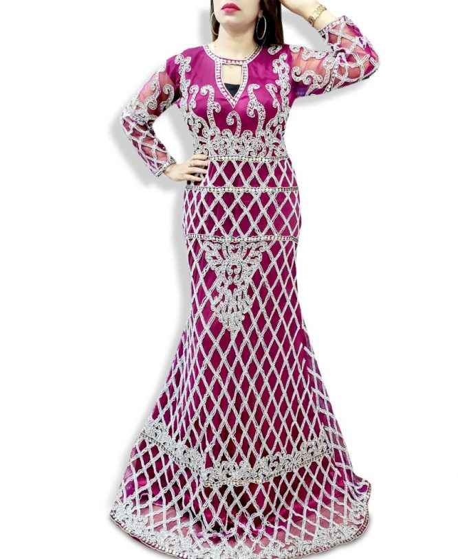 African Attire Designer Party wear Crystal Beaded Long Sleeves Tulle Wedding Dress