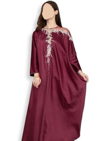 New Fashionable Beaded African Attire Party Wear Collection Satin Silk Dubai Kaftan