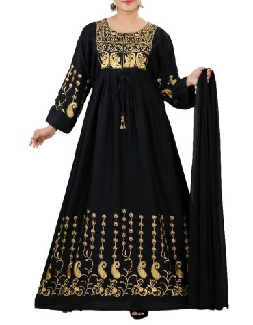 Formal Party Wear Fancy Embroidered Rayon Women Long Black Dress Stitched Elegant Gown