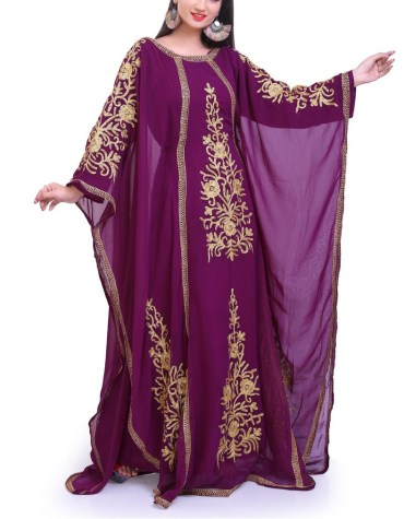 Fashion Evening Party Chiffon Kaftan Gown With Golden Embroidery Work For Women