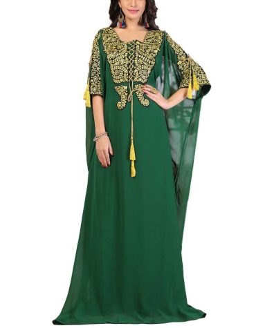 Dubai Caftan Designer Embroidery Work Party Maxi Gown Evening Dress For Women