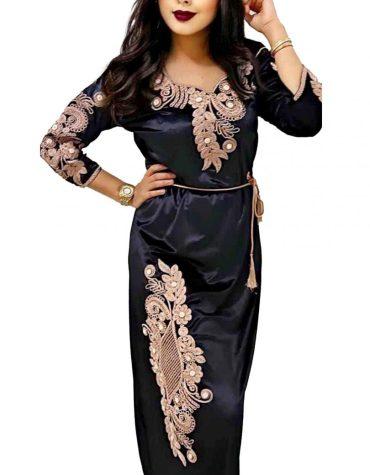 Dubai Trendy Collection Designer Premium Embroidered Satin Kaftan Dresses For Women