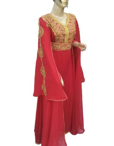 Golden Embroide Fancy and Trendy Womens Party Wear Formal Maxi Gown Plus Size Kaftan
