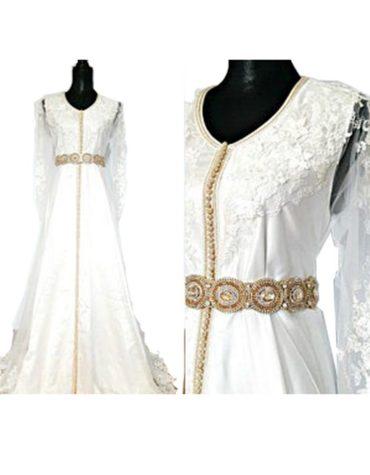 Elegant Embroidered Tulle Long Sleeves Golden Beaded Prom Dress For Women