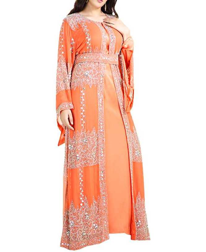 African Attire New Trendy Gown In Golden Stone Work Dress Dubai Kaftan For Women.
