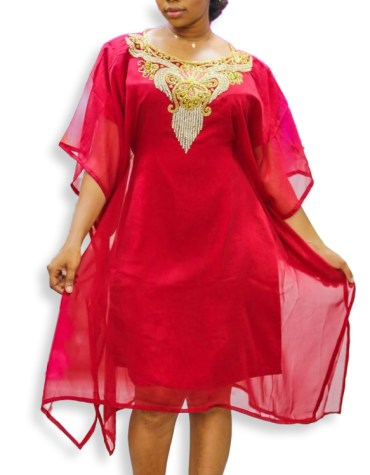 Trendy Outgoing Wear Beaded Embellished Evening Party Wear Tunic Chiffon Dress