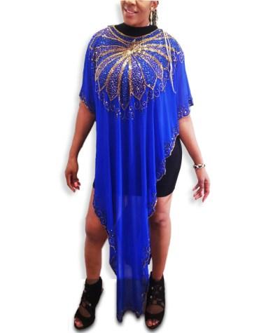 Elegant Beach Top Cover up Handmade Sheer Chiffon Poncho For Women