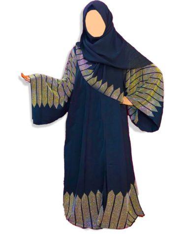 Golden Rhinestone Beaded Umbrella Sleeves Trendy Dubai Abaya Kaftan for Women