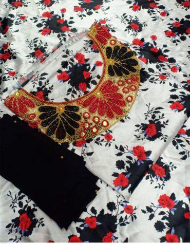 Elegant Cerise Floral Printed African Seed Beaded Satin Silk Formal Dress Material